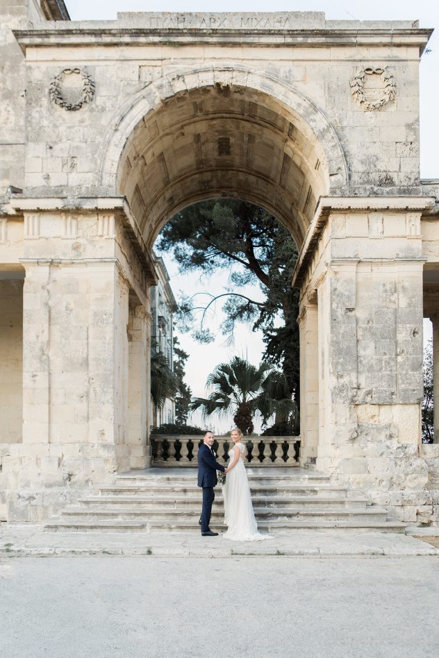 Bride and groom in front of Asian museum in corfu